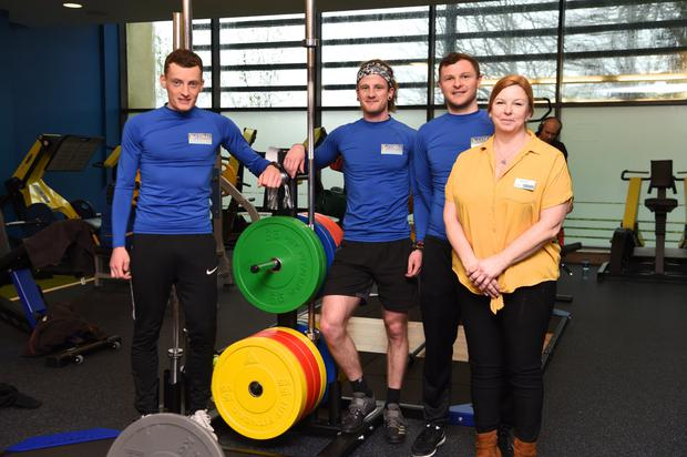 Conor Kissane and Enda O'Sullivan, gym Instructors; Stephen Hayes, gym manager; and Helena Hammond, centre manager, at the opening of the new strength-and-conditioning area in Killarney Sports and Leisure Centre