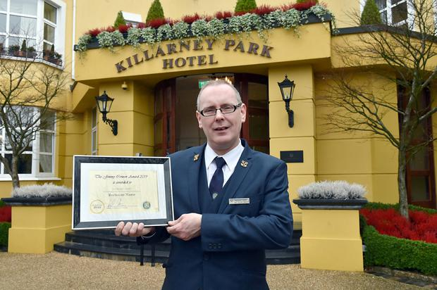 """Padraig Casey, Head Concierge at The Killarney Park Hotel, who won the prestigious """"Jimmy Connor Award"""" for Concierge of The Year 2019 at the recent Les Clefs d'Ors Ireland Awards Night held in The K Club on Saturday night. Photo by Don MacMonagle"""