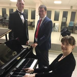 Ryan Morgan (Tenor), Elizabeth Brosnan (Piano) and Principal of the ISK, Joe O'Dwyer pictured before the 'Songs at Springtime' concert which was held in the school on Friday night