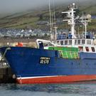 The Spanish-owned, UK-registered trawler Christian-M tied up at Dingle pier on Tuesday. Photo by Declan Malone