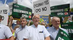 Farmers protesting over Greenway CPOs. Photo By : Domnick Walsh
