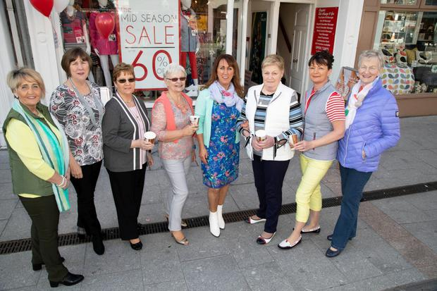 Ladies who gave up their time to model some clothes at Paco's Fashion Show in Tralee on Friday which was in aid of the Multiple Sclerosis (MS) Tralee branch. Pictured are Audrey Moran, Mary Lynch, Sheila Sayers, Joan Doody, Eileen Whelan (Manager), Sheila Kennedy, Carol Doody and Breda Browne. Photo by Joe Hanley