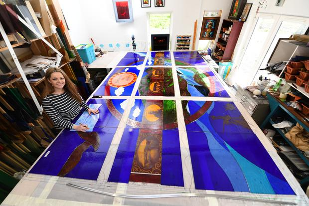 Mary Leen from Tralee is a contemporary stained glass artist. She studied stained glass under famous Italian Master Alberto Positiano in Italy. She paints real people and subjects, something new that has never been seen in stained glass. Photos By Domnick Walsh