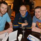 Jason Kelly, Darren Truslove and Darcy O'Sullivan showing their support for the Tralee Lions Club and the Kerry/Cork Health Link Bus at the Lions Club table quiz in the Meadowlands Tralee on Thursday night. Photo by Fergus Dennehy.