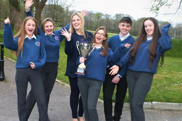 Winners of North Kerry debate on alcohol from Causeway Comprehensive Left to right Debora Canty, Linda Fizgerald, teacher Michelle Mulvihill, Lorranie Fitzgerald, Thomas Enright and Katelyn Diggin. Photo by Sinead Kelleher