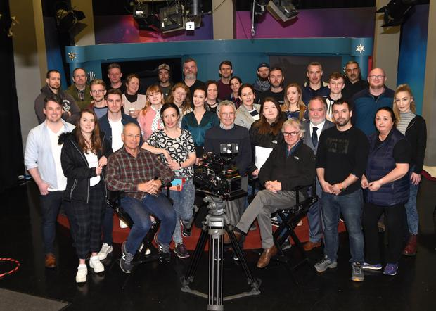 Mo Flam Film Lighting Expect, Ciaran Tanham President Irish Society of Cinematography, Noel Quinn Sound Recordist, Rupert McCarthy - Morrogh, Brian Nolan Senior Instructor ETB Broadcast Production Skills Centre, Claire Cassidy Film Director, Diarmuid Galvin Camera supervisor and The Dawn Workshops, Orla Finucane Script Supervisor with members of the cast and students shooting the pilot episode of