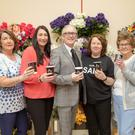 Mary Doherty, Audrey Kavanagh, Danny Leane (MC), Eileen O'Mahony and Anne Ahern pictured at the fundraising coffee morning in aid of the Palliative Care Unit. Photo by Joe Hanley