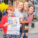 """Darragh, Aoife & Caroline Scanlon with Jade O'Mahoney collecting in Listowel on Tuesday last for National day of dancing """"Be A Dancer For Cancer"""" at the Jumbo's Family Restaurant"""