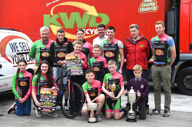 Killarney Cycling Club members Shayna Daly, Tara Kissane, Tadhg and Daithi Kissane O'Sullivan, Noel Brosnan (centre row from left) Cathal and Mark Larkin (back from left) Stephen Daly, Conor Kissane, Darragh Larkin, Brian Hanafin, Tadhg Healy and John Brosnan launching the Twin Peaks on Sunday, May 12. Photo by Michelle Cooper Galvin