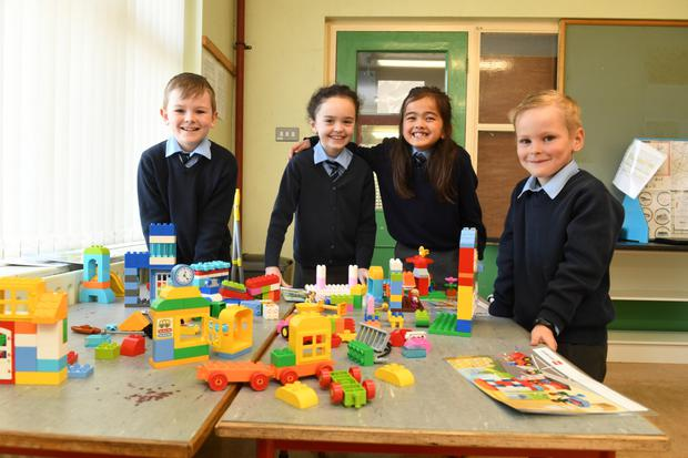The building blocks of learning taking shape at Murhur NS in Moyvane with Ger Mulvihill, Ella Farrell, Sarah O'Connell and Nathan Roche . Photo by Domnick Walsh