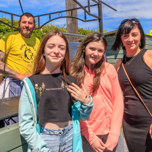 Maurice Enright cooking at the BBQ for the many visitors to the Sera Husky & Animal Rescue Open day last week, pictured with Emma O'Connor–Moran, Michaela O'Leary and Maura O'Connor. Photo by Steve Kelly
