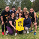 Niamh O'Carroll surrounded by her fellow Kerry runners as she launches her fundraising 'Great Irish Run' in memory of her later mother Patsy and in aid of the Kerry Hospice Foundation