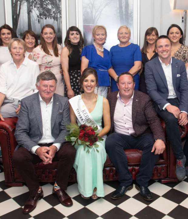 Sally Anne Leahy pictured with her family and friends after she was announced as the new 2019 Kerry Rose at the Kerry Rose Selection in Ballyroe Heights Hotel in Tralee on Saturday evening.