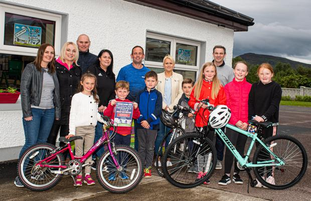 Ready for road: Parents, teachers and pupils pictured launching the eighth annual Barraduff NS cycle which takes place this Sunday, June 16.