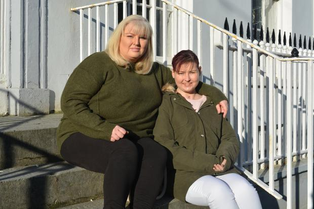 Nicole McGaley (right) pictured outside The Kerryman offices with her mother Jennifer back in January of this year as she pleaded for a heart transplant. Photo by Fergus Dennehy