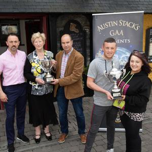 Launching the 2019 Austin Stack 'Strictly Come Dancing' at Kirby's Brogue Inn on Monday were Daniel Tuohy and Amy Roche (2018winners). Back: Neil O'Shea, Mairead Fernane (Chairperson of Austin Stacks GAA Club) and Malachy Nagle. Photo by Joe Hanley