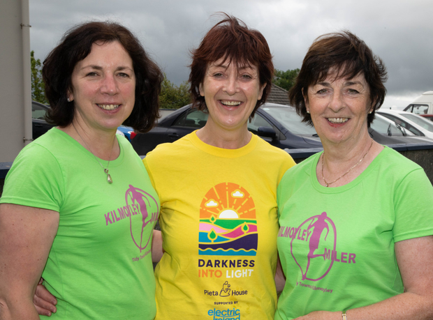 Mary Walsh, Angela and Bernie Meehan taking part in the Kilmoyley Miler from the Kilmoyley Community Centre on Sunday. Photo: Joe Hanley