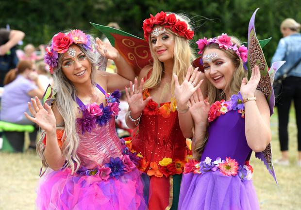 Beckey Hussey, Rachell Quirke and Chloe McElligott from Tralee pictured at the fabulous fairy trail in Kilflynn Village during the 2019 Kilflynn Enchanted Fairy Festival at the weekend. Photos: Domnick Walsh
