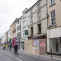 Castle Street in Tralee which is closed to traffic due to concerns over the stability of the facade of the Baily's Corner pub building. Photo Domnick Walsh