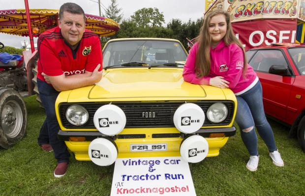 Denis and Sarah Delaney with their Ford Escort at the launch of the 2018 and first Knocknagoshel Vintage Car and Tractor Run in Walsh's Field. Photo by John Reidy