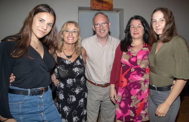 Enjoying the Sunday night dancing at the Scartaglin Heritage Centre in aid of Kerry/Cork Link Bus Khira Girard (france), Bridie Courtney and Sean Curtin Tralee, Mimoza Kurtaliay and Magdalena Kolar (France). Photo Joe Hanley
