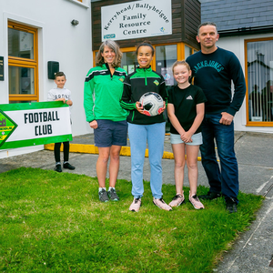 Launching Ballyheigue Athletic FC's new girls' side this week were George and Sam Keane (U-11 BAFC) left, with Margaret Cullinane BAFC coach; Paige and Shannen Drury; and Ballyheigue Family Resource Centre Project Co-ordinator Seamus Falvey. Photo by Ciara O'Donnell
