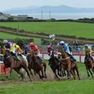 The horses 'head out into the country' in the first lap of the Dingle Derby on Sunday, with the eventual winner 'Ciderman' (jockey in blue) taking a wide line as they pass the stand. Photo by Declan Malone