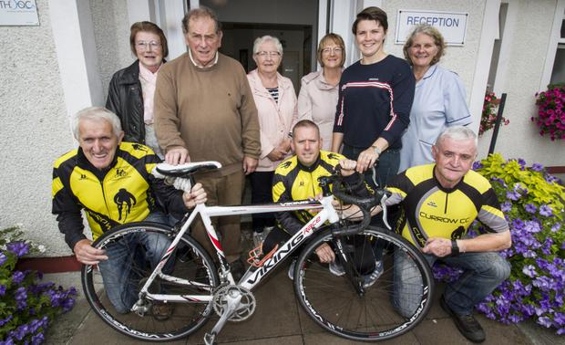 Management and friends of Castleisland Day Care Centre with guests at the launch of the 2019 fundraising cycle at the centre. Included are: front from left: Freddie O'Dwyer, Adrian O'Connell and Marcus Cronin, all Currow Cycling Club. Back row: Eileen Lane, Castleisland Day Care Centre; Éamonn Breen, Currow Cycling Club; Maxi Fleming and Kathleen Griffin, Castleisland Day Care Centre; Ciara Griffin, Irish Women's Rugby Team Captain and Marcella Finn, Nurse/Manager, Castleisland Day Care Centre. Photo by John Reidy