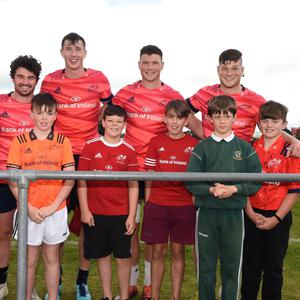 Some of the Munster Rugby team Keena Knox, Sam Arnold, Tom Ahern, Jack O'Donoghue and Finn Wycherley with Killarney students Brian Walsh, Alex Sheahan, David Butler, Muiris O'Donoghue and Chris Kelliher