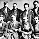 The Mountjoy prison group in 1926. Front, from left: Paddy Rooney (Niall Street, Dublin), Maurice Twomey (Chief of Staff of the IRA), Peter O'Reilly, John Joe Sheehy (Captain of Kerry football team), Dr John Madden, Con Casey (The Kerryman newspaper), and Willie Rowe (Francis Street, Dublin). Back,from left: John Joe Rice (Kerry,future TD for Sinn Féin), Michael Kilroy of Mayo (future T.D. for Fianna Fáil), Michael Hilliard (Navan, Co Meath, future TD for Fianna Fáil), Sean Fitzpatrick (Dublin), Frank Kerlin, Paddy Kinnane (Tipperary, future Clann na Poblachta TD), Christy Moran (Marshallstown, Kilmessan), Peter McMahon, and Gerard O'Reilly (Dromstown, Navan)