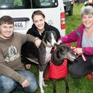 Solomon and Minnie the dogs with their owner and friends Podge Barry, Samantha Goggin and Sarah Hensman at the Ballymac Vintage Rally at O'Riada's in Ballymac on Sunday