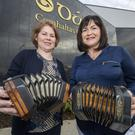 Concertina virtuosos Maura Walsh, Lixnaw, and Michelle O'Sullivan, Tralee, at the opening of the new Dúchas Centre. Photo by Domnick Walsh