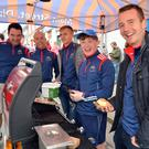 Sean O'Flaherty, Paul Devane, Deividas Uosis, Mikey Boland and Darragh O'Sullivan on the Dingle GAA stall on Main Street where they served 500 burgers over the food festival weekend. The lads said GAA members sold 600 fishcakes at another stall back at the Quay. Photos by Declan Malone