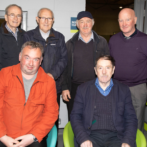 Tralee Men's Shed members attending the Mental Health seminar in Listowel on Wednesday. Front, Shane Savage and Denis Teahan. Back, from left, Tom Moloney, Tony Moriarty, Pat Murphy and Frank Faherty. Photos by Joe Hanley