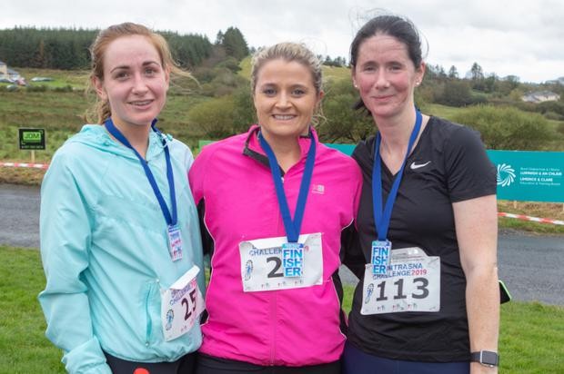 Clara Daly and Ciara Collins from Abbeyfeale with Karen Quirke from Mountcollins at the 2019 Dromtrasnsa Challenge
