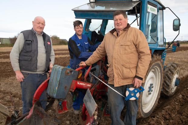 Liam, Christy and Richard O'Mahony from Ballyheigue who getting their plough ready for the Ardfert ploughing competition on Dominick Flaherty's land in Ardfert on Sunday. Photos by Joe Hanley