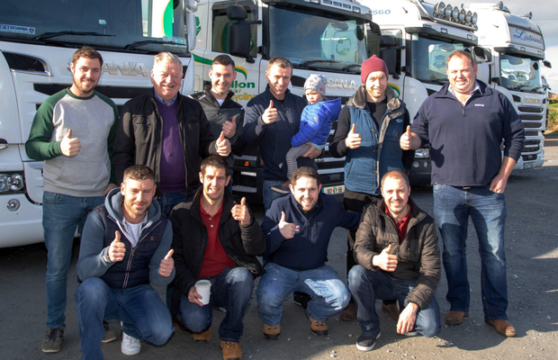 It's a thumbs up for Childline from the Dillon Waste and Recycling crew who took part in the big charity Truck Run on Sunday. Photos by Joe Hanley