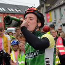Tomás Mac a'tSaoir celebrating his homecoming on May 11 after cycling from Cairo to Capetown. He'll soon be on the road again, this time cycling home from New Zealand. Photo by Declan Malone