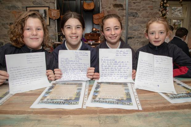 Millie Hayes, Alva Daughton, Farah Leahy and Grace Dooner at Maddens on Milk Market Lane last Friday afternoon as they presented their 'Tralee My Love' response letters