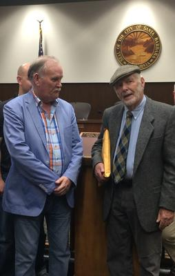 Santa Barbara /Dingle Sister City Committee President Brian de Staic with James 'Bud' Bottoms, sculptor of the iconic dolphin monument at Dingle marina