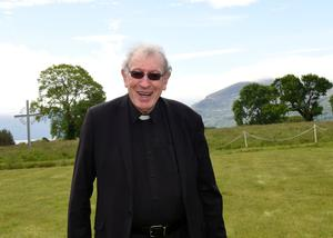 Fr Tom Looney outside Fossa's Prince of Peace Church this week as he announced his retirement. Photo by Michelle Cooper Galvin