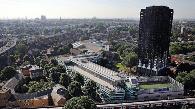 The charred ruins of the Grenfell tower block in London.