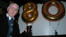 Former Town Bellman, Michael Conway pictured at his 80th birthday party at The Fountain Bar in 2011. He has now just marked his 90th quietly at home and there's no change in him. Photo by John Reidy
