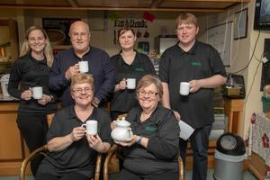 Catherine Carey, Marie Lucid, Katie McCabe, Anthony O' Carroll, Mags Enright and Rory Phelan enjoying the 'SOFT' charity coffee morning at the Buds Family Resource Centre on Friday morning. Photo: Joe Hanley