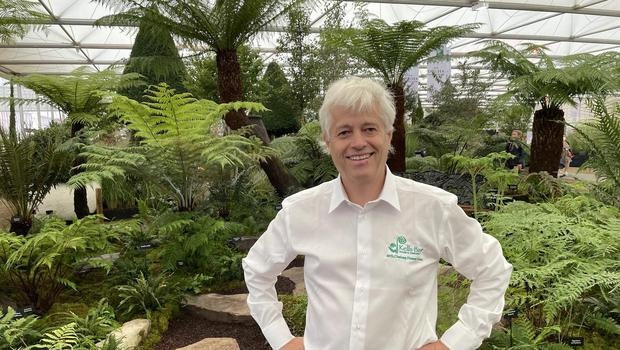 Billy Alexander with his garden display at the RHS Chelsea Flower Show.