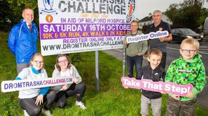 Getting ready to 'Take That Step for Milford' on Saturday October 16 for the 7th Annual Dromtrasna Challenge in Dromtrasna, Abbeyfeale were from l-r was Kieran & Katie Flannery, Olivia Horgan, Kevin Flannery, Seamus Horgan and brothers Eoin 7 James Flannery. Photo by John D Morris.