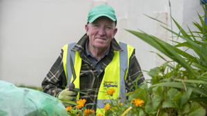 Ballybunion Tidy Towns member Seamus O'Doherty planting up the flowering colour for summer '21 in the town. Photos by Domnick Walsh