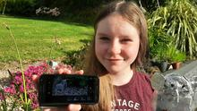 Orlaith Buckley 2nd year student from Abbeyfeale with the elephant she made for her animation out of recycled materials from home and holding her phone as she used an app 'Stop Motion Studio' to create it.