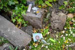 Drugs found at the back of the Old Church, at Rath Cemetery, Tralee, on Monday. Photo by Joe Hanley