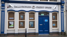 Ballybunion Credit Union with the closure notice attached to the door. Photo by Domnick Walsh